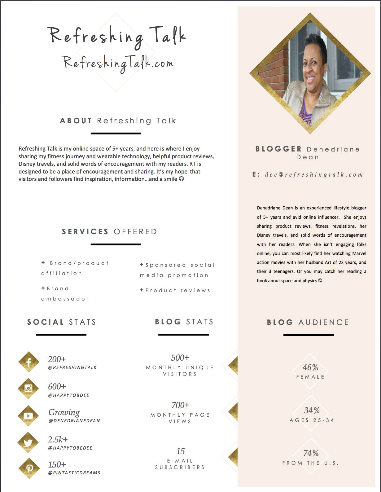One Page Media Kit Samples For Bloggers And Influencers